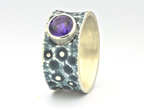 Emaille-Ring Eismeer 10 mit Amethyst