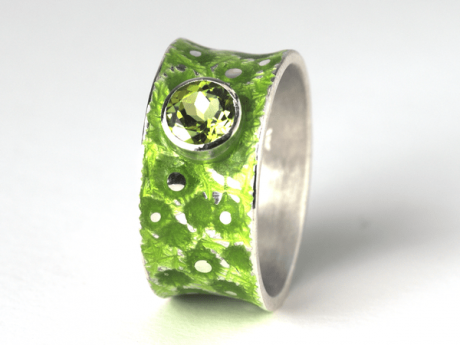 Emaille-Ring Eismeer 10 mit Peridot
