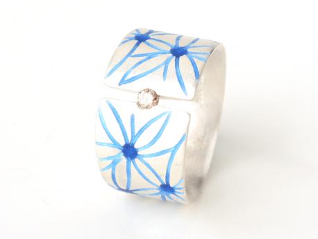 Emaille-Ring Fleur mit Brillant braun natur