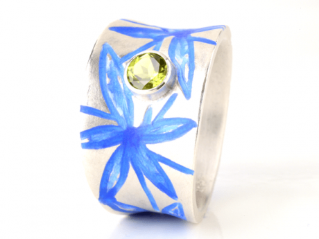 Emaille-Ring Myra mit Peridot