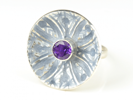 Emaille-Ring Patella mit Amethyst