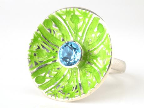 Emaille-Ring Patella Kuba mit Topas